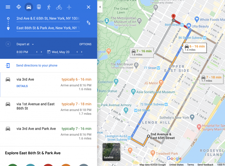 Google Maps traffic & directions extractor