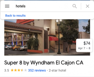 a hotel from google maps
